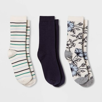 A New Day Women' Floral 3pk Crew ock
