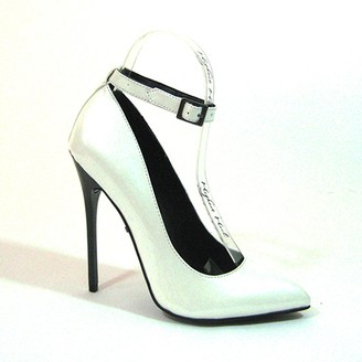 "The Highest Heel Fierce-51 Pearlized Patent PU Ankle Strap Pump with 4.5"" Heel"