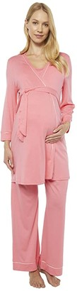 Cosabella Bella Maternity Three-Piece PJ Set (Quartz Pink/Evening Pink) Women's Pajama Sets