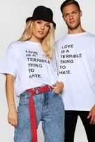 Pride Love/Hate Printed T Shirt in Loose Fit