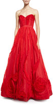 Alexandra Vidal Strapless Tulle Corset Gown, Red