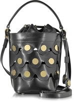 Pierre Hardy Black Leather Penny Bucket Bag w/Golden Studs