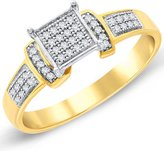 Paradise Jewelers Women's 0.19CTW Diamond Pave Accent Square 14K Yellow -Plated Sterling Silver Ring, Size 6.5
