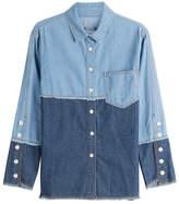 Sjyp Two-Tone Denim Shirt
