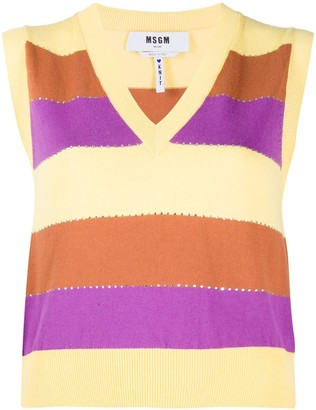 MSGM Horizontal-Stripe Sleeveless Jumper
