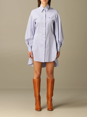Etro Dress Shirt Dress In Cotton Rod With Embroidered Logo