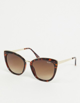 Quay Honey oversized cat eye sunglasses in tortoise