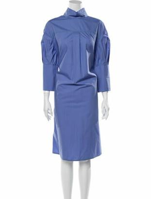 Marni Mock Neck Midi Length Dress Blue