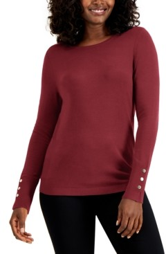 JM Collection Petite Crewneck Sweater, Created for Macy's