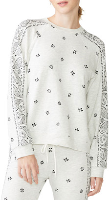 Monrow Allover Bandana Printed Long-Sleeve T-Shirt
