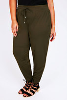 Yours Clothing Khaki Jersey Harem Trousers With Pockets & Drawstring Waist