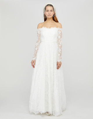 Under Armour Cecily Bridal Bardot Lace Maxi Dress Ivory
