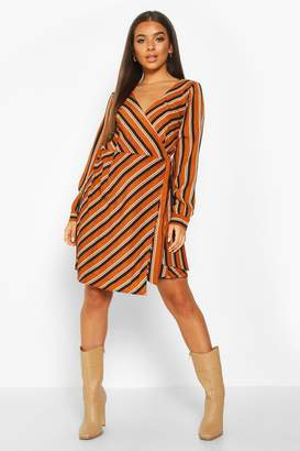 boohoo Woven Stripe Wrap Mini Dress