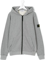 Stone Island Junior arm patch zipped hoodie