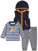 Kids Headquarters 3-Pc. Hooded Vest, Striped T-Shirt & Pants Set, Baby Boys (0-24 months)