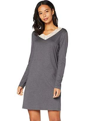 Iris & Lilly Women's Long Sleeve Cotton Nightdress, (Blue), (Size:S)
