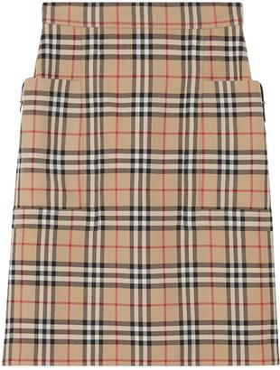 Burberry pocket detail vintage check pencil skirt