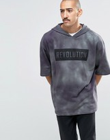 Asos Oversized Longline Tie Dye Short Sleeve Hoodie With Print