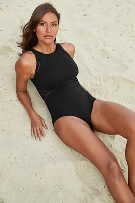 Next Womens Black Rik Rak Sports Swimsuit - Black