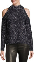 Rebecca Taylor Boucle Cold-Shoulder Mock-Neck Sweater, Black
