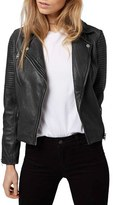 Topshop Women's 'Orbit' Leather Moto Jacket