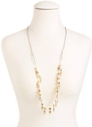 Adjustable Bead And Brass Disk Necklace
