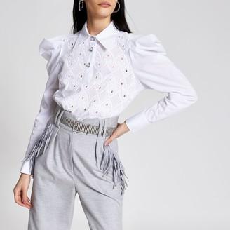 River Island Womens White crochet puff sleeve shirt bodysuit