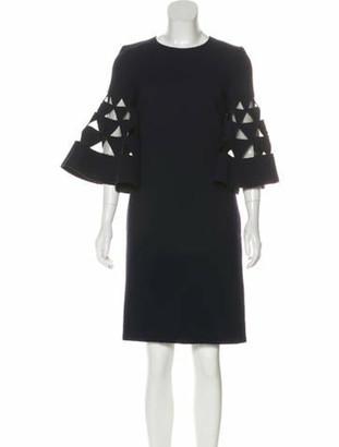 Oscar de la Renta Long Sleeve Wool Dress Navy