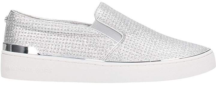 Michael Kors Slip On Sneakers In Silver Leather