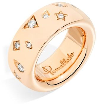 Pomellato Medium Rose Gold and Diamond Iconica Ring Size 53