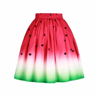 Miduo Women Printed High Waist Elastic Waist Pleated Bubble Skirt Vintage Watermelon Pattern Knee Length Petticoat Skirt Print Flared Printing A line Skirts Women's Dress (Color : Red Size : L)