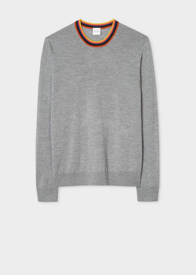 Paul Smith Men's Light Grey Merino Wool Sweater With 'Artist Stripe' Collar