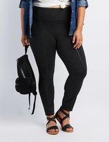 Charlotte Russe Plus Size Faux Leather-Inset Ponte Pants