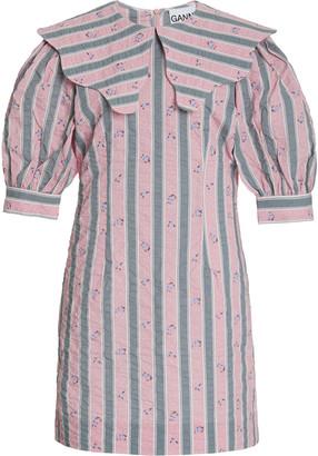 Ganni Striped Seersucker Cotton Mini Dress