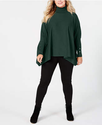Alfani Plus Size Turtleneck Poncho Sweater