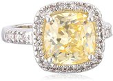 """Kenneth Jay Lane CZ by Classic"""" Canary Yellow Cushion Pave Cubic Zirconia Border Ring, Size 7, 6 CTTW"""