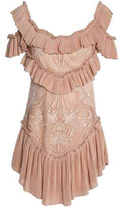 Alice McCall Lovebirds Cold-shoulder Plisse-paneled Crocheted Mini Dress