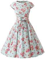 Ensnovo Womens Cap Sleeve Floral Vintage Rockabilly Swing Party Cocktail Dress M L