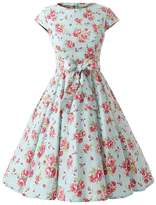 Ensnovo Womens Cap Sleeve Floral Vintage Rockabilly Swing Party Cocktail Dress S