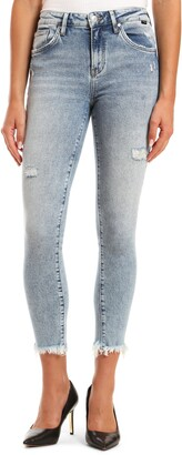 Mavi Jeans Tess High Waist Distressed Fray Hem Ankle Skinny Jeans