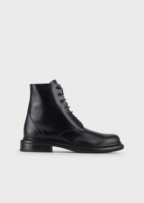 Giorgio Armani Polished Leather Waterproof Boots