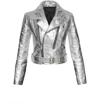 Altiir Women's Neo-Classic Biker Jacket In Silver