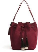 Loeffler Randall Port Red Suede Hobo Bag With Horse Hair Tassle