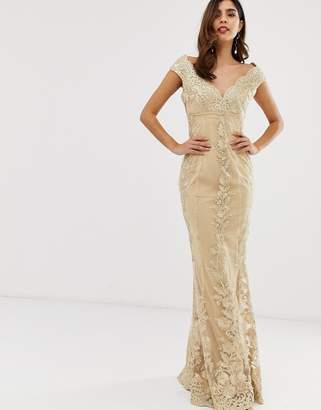 Bardot City Goddess lace floral maxi dress-Cream