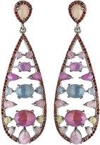 Bavna Multicolored Sapphire & Garnet Teardrop Earrings