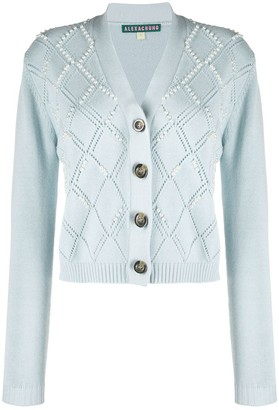 ALEXACHUNG Faux-Pearl Embellished Cardigan