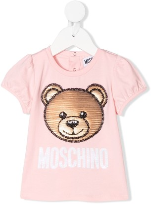 MOSCHINO BAMBINO beaded-bear short sleeved T-shirt