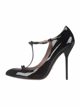 Gucci Patent Leather Bow Accents T-Strap Pumps Black