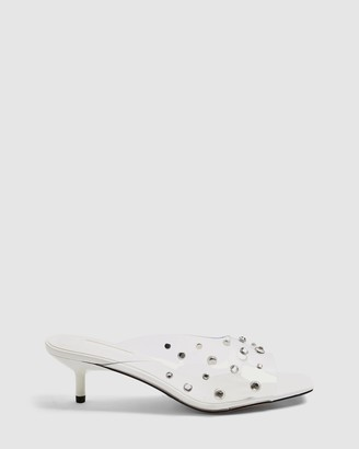 Topshop Women's White Mid-low heels - Noir Gem Transparent Mules - Size 40 at The Iconic