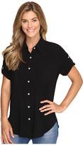 Allen Allen Tab Sleeve Button Front Shirt